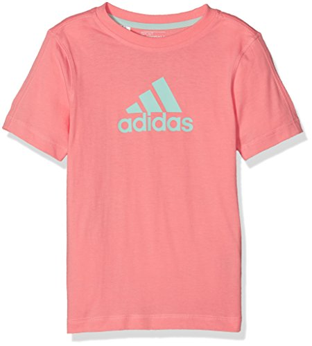 adidas Kinder Essentials Logo T-Shirt, Ray Pink/Ice Green, 128