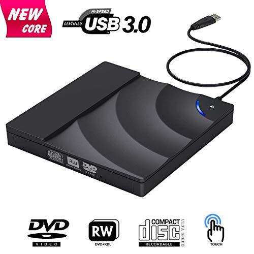 Unidad de CD Externa, USB 3.0, Grabador de DVD/CD con Control táctil, para portátiles, Compatible con Windows 7/8/10/XP/Mac OS
