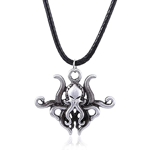 AMOZ Collar Mitos de Cthulhu H.P. Lovecraft Cthulhu Kraken Pulpo Colgante Collares para Hombres Cosplay Joyería Regalos