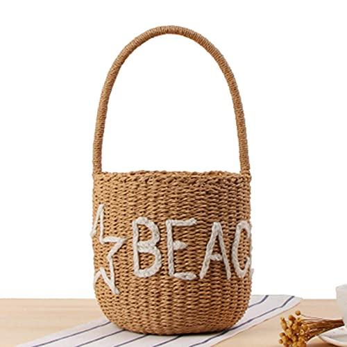 Bolso de mano tejido de paja de estilo casual para mujer, bolso de playa para mujer con cordón de ratán retro tejido de viaje popular de paja para mujer-blanco