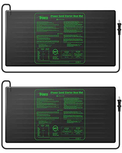 """iPower GLHTMTLX2 2-Pack Durable Waterproof Seedling Heat Mat 48"""" x 20"""" Warm Hydroponic Plant Germination Starting Pad, Black"""