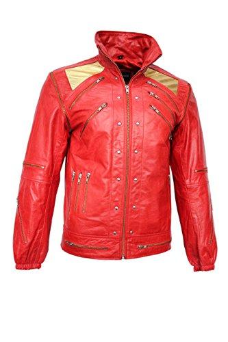 Smart Range Neue Männer Schlagen es rotes Gold Michael Jackson-Art-Musik-echte Schaf-Lederjacke (XS)