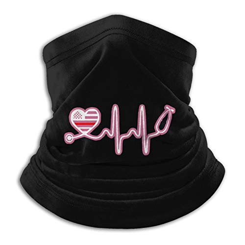Pink Thin Line Nurse Neck Gaiter Tube Mask Headwear, Motorcycle Face-Mask Face Scarf, Balaclava