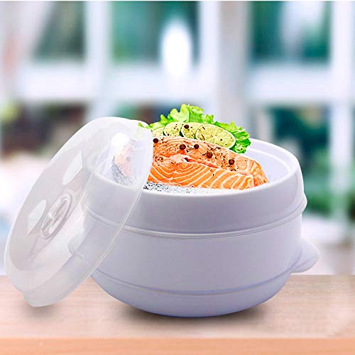 Olla para cocina al vapor en microondas. Vaporera de microondas. Comida sana y sin grasa. BPA free