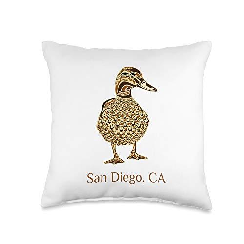 San Diego CA Mallard Duck Lover Native American San Diego CA Mallard Duck Bird Lover Native American Style Throw Pillow, 16x16, Multicolor
