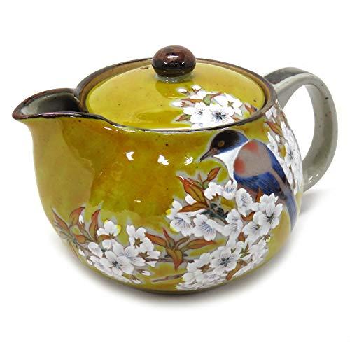 Kutani Yaki(ware) Japanese Teapot Sakura and bird (with tea strainer)