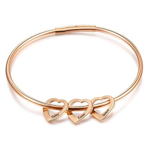 yuge Pulseras de corazón de 2 a 6 nombres grabados personalizados para mujeres pulseras y brazaletes de acero inoxidable regalos para la familia 3Hearts-oro rosa