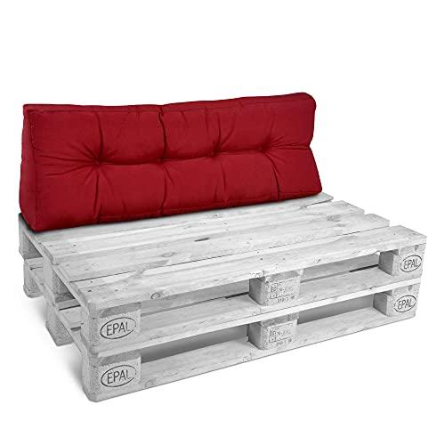 Beautissu Cuscino per spalliera di divani per bancali o Pallet Eco Style 120x40x10-20cm Schienale per Divano - Rosso