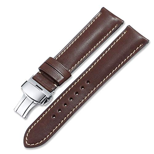 iStrap 22mm Piel de Vacuno Correa de Reloj Banda de liberación rápida Cierre de apriete con botón de Color marrón Oscuro 22