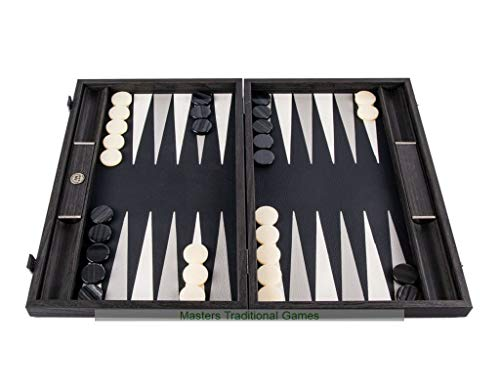 Manopoulos Classic Black Leatherette Backgammon Set (19-inch)