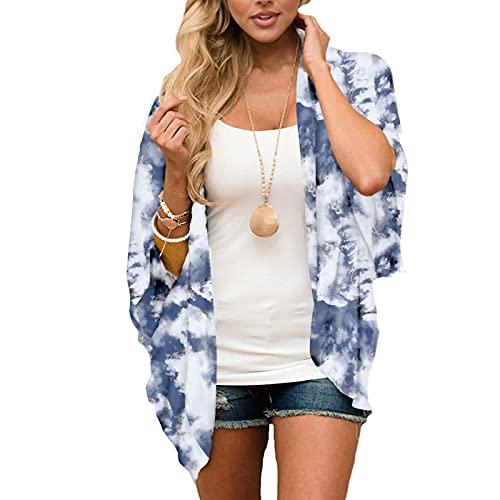 YTZL Kimono para mujer bohemio estampado, de gasa, con estampado floral, para verano, para llevar en la playa, para vacaciones azul S
