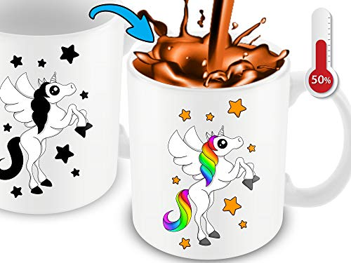 Cortunex Color Changing Unicorn Mug - Funny Coffee Mug For Woman - Great Unicorn Gift For Girls - Cute Mug - 11 Ounce White Ceramic Color Changing Mug With Gift Box | Great Christmas Gift Idea