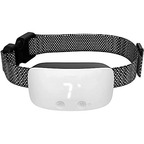 Verbessertes Antibell Halsband, Wiederaufladbares Anti-Barking Erziehungshalsband, No-Bark Vibrationshalsband mit 7 Einstellbare Empfindlichkeits und Intensitätsstufen für Kleine Mittel Große Hunde