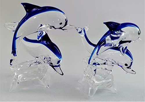 Glasvogelwelt 2 Delfine auf Sockel (groß: Höhe ca. 9cm/Breite ca. 8cm)