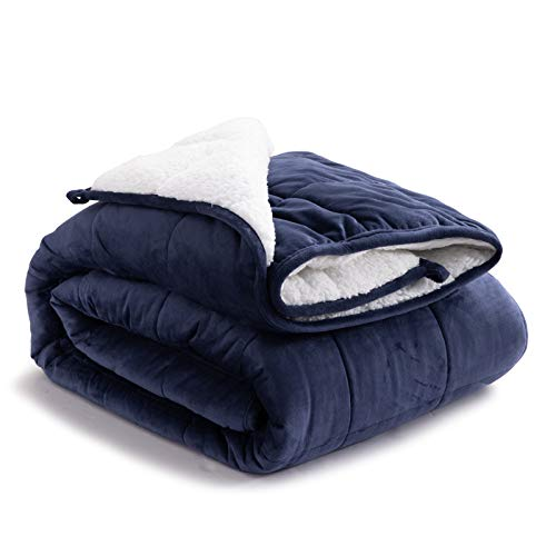 Bedsure Sherpa Fleece Weighted Blanket Queen Size 15 pounds for Adults - Soft Heavy Blanket with Premium Glass Beads