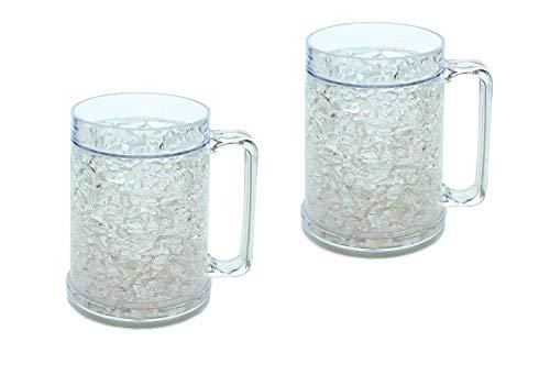 Double Wall Gel Freezer Mugs Set of 2 Clear 16oz, Cooling Pint Glasses, Freezable Beer Mug, Slushie Mug, Plastic PintGlass
