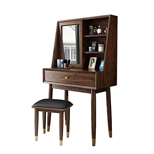 Best Buy! YonCog Personality Vanity Table Mirror,Makeup Vanity Set Cushioned Stool Wood Dressing Tab...