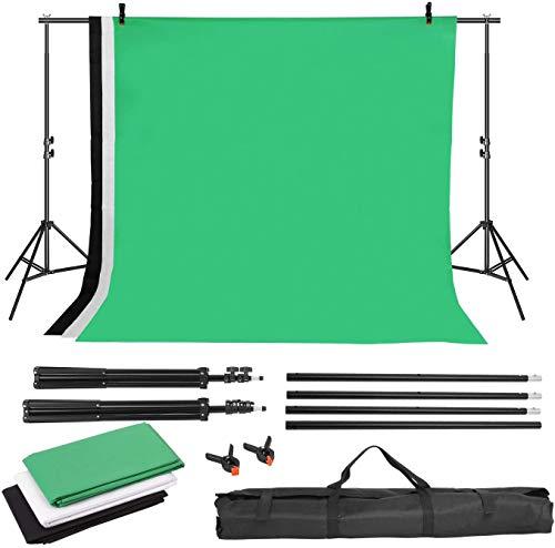 MVPower Fondo de fotografía con Soporte de Fondo de 2 x 3 m + Fondo de 1,6 x 2 m (Negro, Blanco y Verde) + 2 Bolsas para fotografía y Video (de Tote no Tejido)