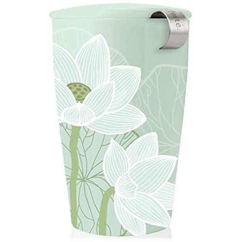 Tee Forte Kati Tasse Keramik Tee Infuser Tasse mit Infuser Korb und Deckel zum Einweichen, Lotus