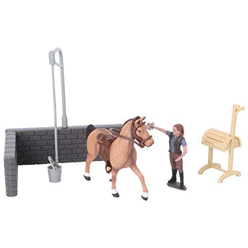 TOYANDONA Casa de Animales Miniatura Juego de Juguetes de Granja para Niños Juego de Juegos de Animales Casa de Muñecas Animales Barnyard Figuras Juguetes (Caballo Estable)
