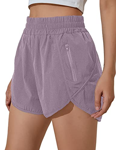 BMJL Women's Running Shorts Elastic High Waisted Shorts Pocket Sporty Workout Shorts Quick Dry Athletic Shorts Pants(M,Purple)