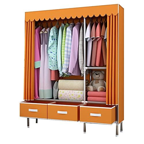 LICHUAN Armario portátil para colgar ropa con cajón de tela para armario, espacio de ropa, armario de almacenamiento (color: naranja)