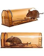 Signstek Trampa para Ratones 2pcs, Trampas Ratas para Interiores Sin Matar, Reutilizable y Fácil de Limpiar, para Cocina, Jardín, Hogar, Oficinas, Campos