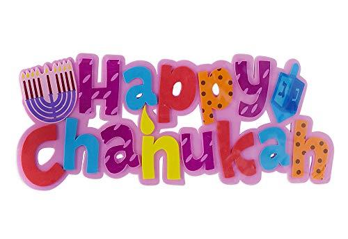 Happy Chanukah Foam Decoration - 11 x 4.5 - Hanukkah Party Decorations and Supplies