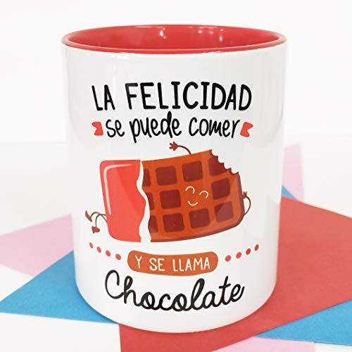 La mente es Maravillosa - Taza con Frase y Dibujo. Regalo Original y Gracioso (La Felicidad se Puede Comer y se Llama Chocolate) Taza Diseño Chocolate
