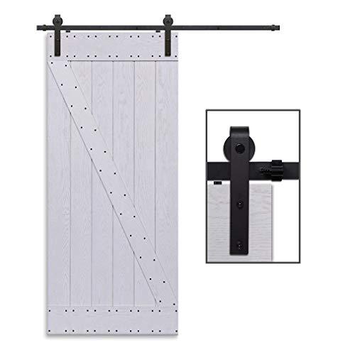 Herraje Puerta Corredera 168cm/5.5ft Negro, CCJH Riel Puerta Corredera Armario, Adecuado para 1 Puerta de 84 cm de Ancho [J Shape Hanger]