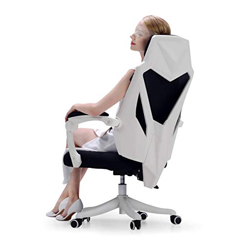 Hbada Office Adjustable Chair, High Back with Breathable Mesh Recline Desk Chair, White
