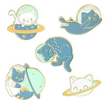 ROFARSO Cute Animal Enamel Brooch Pins Cartoon Space Cat Pin Set Cat Shaped Planet Astronaut Cat Lapel Pins Accessory for Backpacks Badges Hats Bags for Women Girls Kids