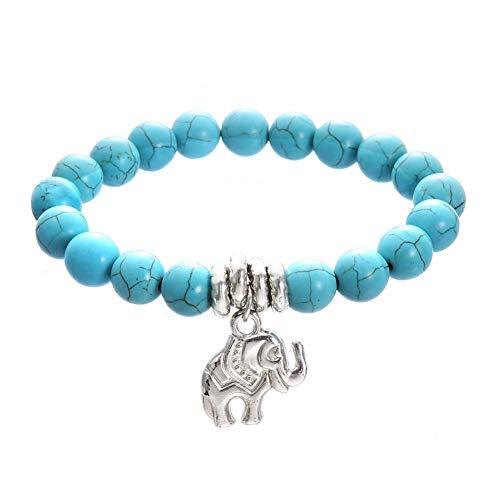 Vektenxi Elefant Charm Faux Türkis Perlen Fußkettchen Strand Frauen Fußkette Fußschmuck Türkis Stilvoll und beliebt