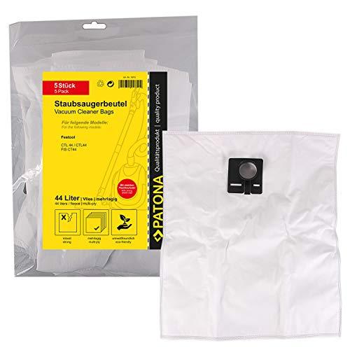 PATONA 5x Sacchetti per aspirapolvere compatibile con Festool 44 le/e, CT, CT44E/LE, CTL, CTL-44, CTM, CTM44E/LE, FIS-CT44, vello sintetico