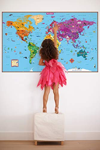 Kids' Illustrated Map of the World - Folded