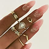 Victray Boho Gold Ring Set Joint Knuckle Carved Finger Rings Stylish Hand Accessories Jewelry for Women and Girls (6PCS)