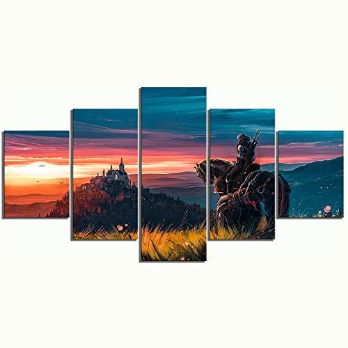 Impresiones de arte en la pared Imágenes en lienzo Decoración para el hogar 5 piezas The Witcher Paintings Moderno Cartel de hotel en HD Sala de estar modular, 30x40cmx2 30x80cmx1 30x60cmx2