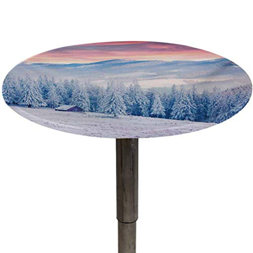 Outdoor Tablecloth Round Winter Waterproof Fabric Table Cloth Calm Scenic Sunrise Scenery in the Carpathian Mountains Countryside Environment Holiday Picnic Table Covers for Folding Table Diameter 54'