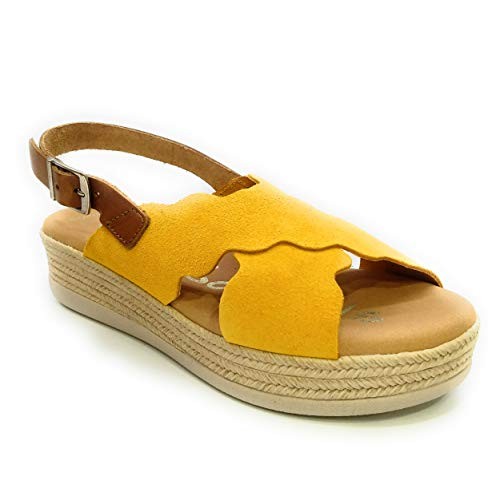 Oh! my Sandals 4682 Plataforma Piel Serraje Hebilla-Mostaza