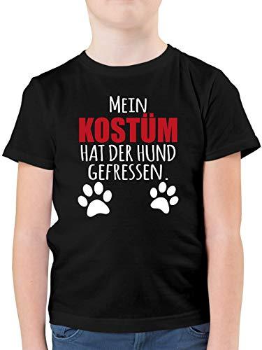 Karneval & Fasching Kinder - Mein Kostüm hat der Hund gefressen - weiß/rot - 104 (3/4 Jahre) - Schwarz - Karneval kostüm Hund Kinder - F130K - Kinder Tshirts und T-Shirt für Jungen