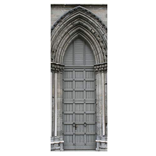 LUCKYYY Europese boog-retro- kerkdeur met glazen venster met creatief behang van houten deur-renovatie-wand-sticker-3D