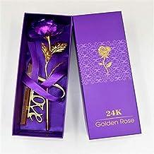 وردة مطلية بالذهب عيار 24 قيراط بستاند - ارجواني