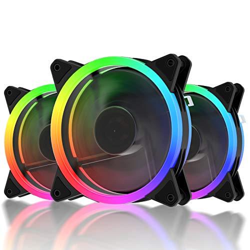 upHere 3-Pin RGB LED Ventola da 120mm Flusso d'aria Elevato e Ventola Silenziosa 3 Pack/RGB123-3