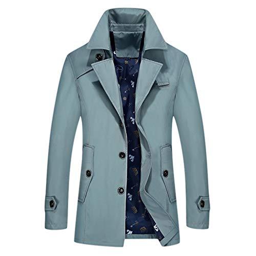 MAYOGO Herren Warm Softshelljacke Winter Mantel Trenchcoat Lang Winterjacke für Business Freizeit (Hellblau, L)