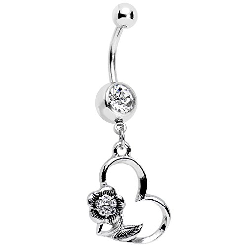 Body Candy Clear Accent Hollow Heart Flower Dangle Belly Ring