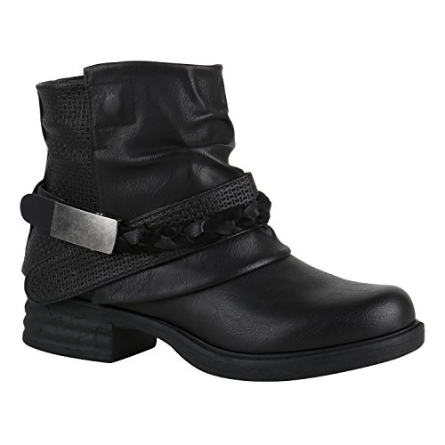 Damen Stiefel Gefüttert Biker Boots Schnallen Metallic Schuhe 149680 Schwarz Schnalle 37 Flandell