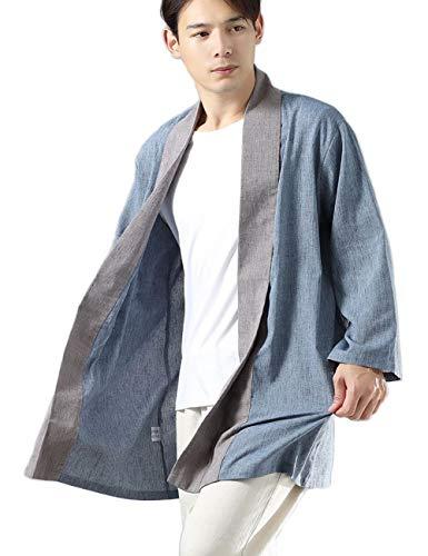 LZJN Mens Open Front Kimono Cardigan Casual Cotton Linen Shirt Chinese Hanfu Style Trench Coat (Light Blue, M)