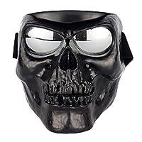 防護サングラス フルフェイスゴーグル 特別な骷髅 フルフェイスマスク付き 安全ゴーグル サイクリンググラス オートバイ眼鏡 UVカット フェイスガード取り外し可能 耐衝撃 保護メガネ バイク (骷髅黒)
