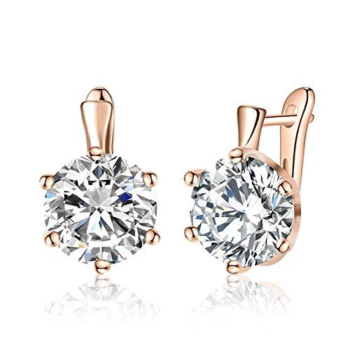 HoopsEarringsForWomen,Rose Gold Fashion White Round Zirconia Hoop Piercing Earrings Hypoallergenic Lightweight Hoop Ring Circle Jewelry Earrings For Women Girls Party Wedding Valentine'S Day