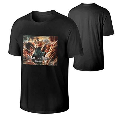 GuANvgITS Hombre Attack On Titan Printing T-Shirt Patrón Impreso T-Shirt Negro XXXX-Large